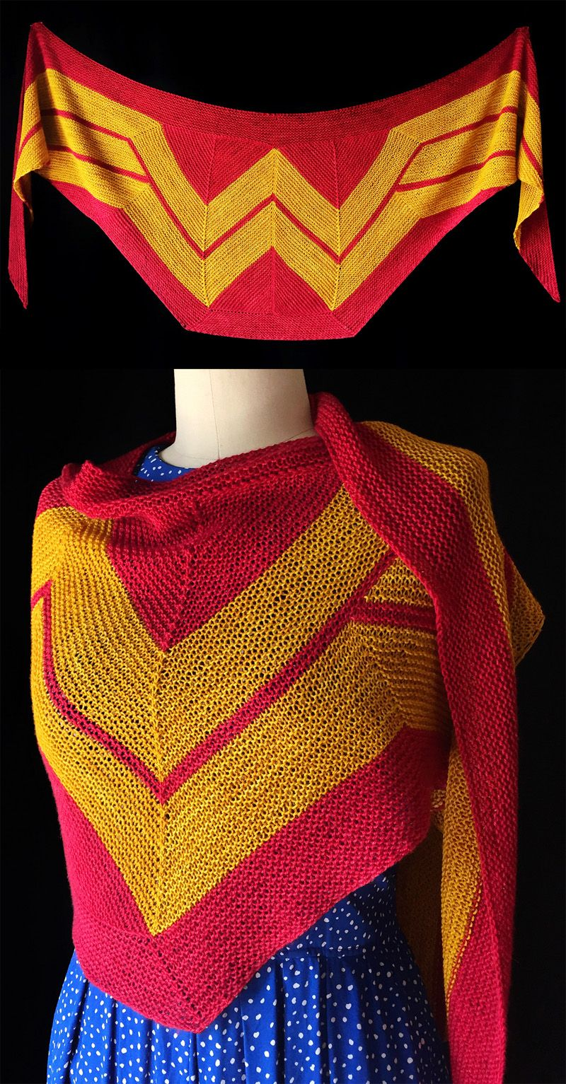 Free Knitting Pattern for Wonder Woman Wrap - This amazing shawl by ...