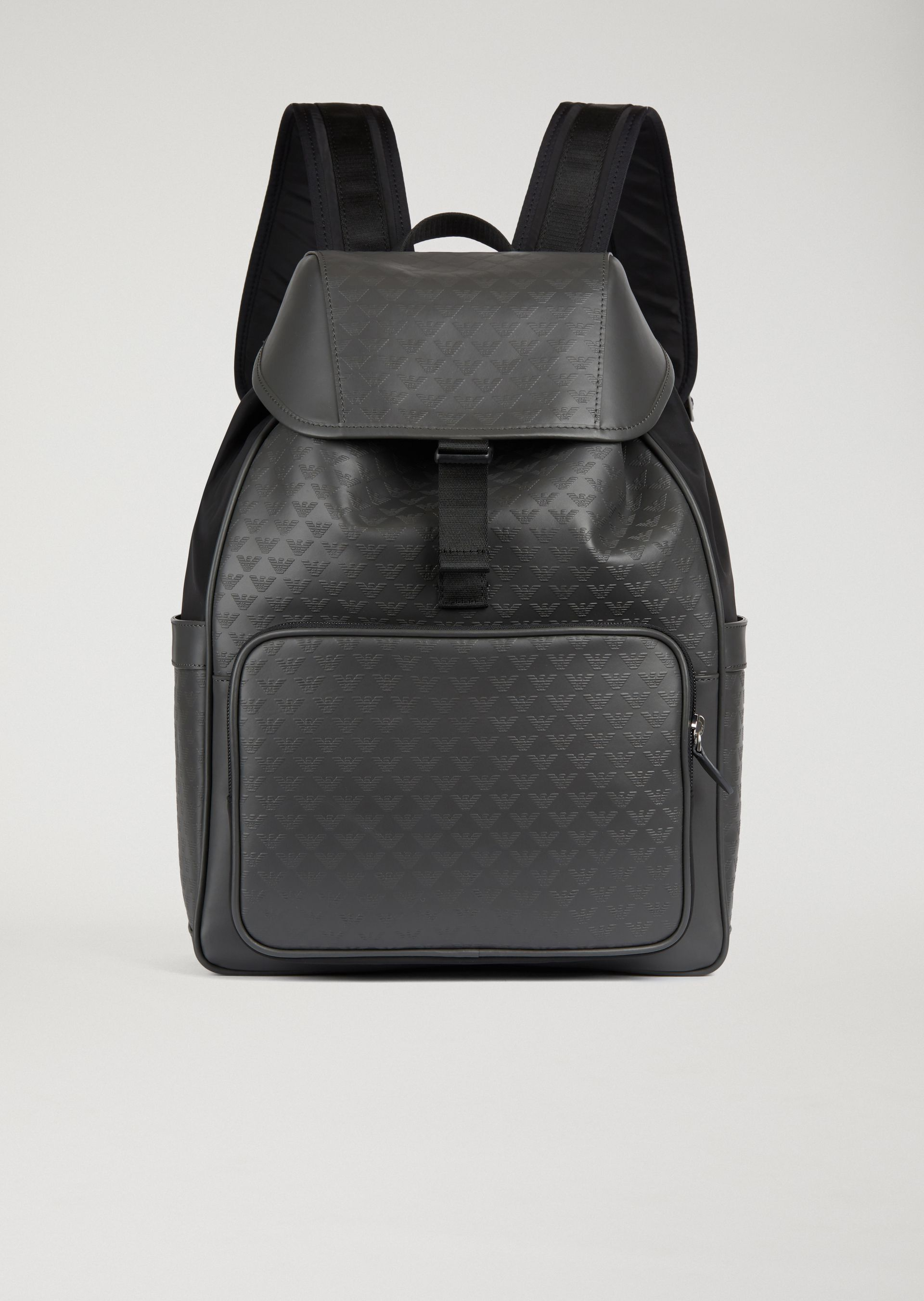 069eaf624e2d EMPORIO ARMANI LEATHER BACKPACK WITH SIDE POCKETS AND ALL-OVER LOGO PRINT.   emporioarmani  bags  leather  backpacks  metallic