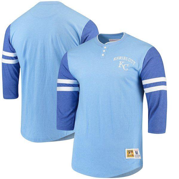 the best attitude e5235 4a4e2 Kansas City Royals Mitchell   Ness Home Stretch 3 4-Sleeve Henley T-
