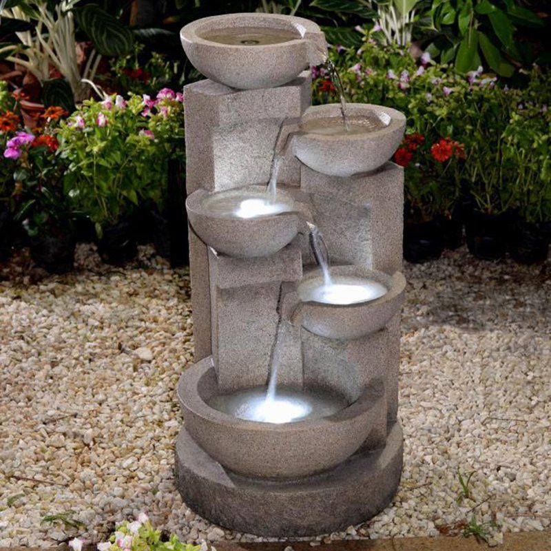 Multi Tier Bowls Water Fountain With Led Light