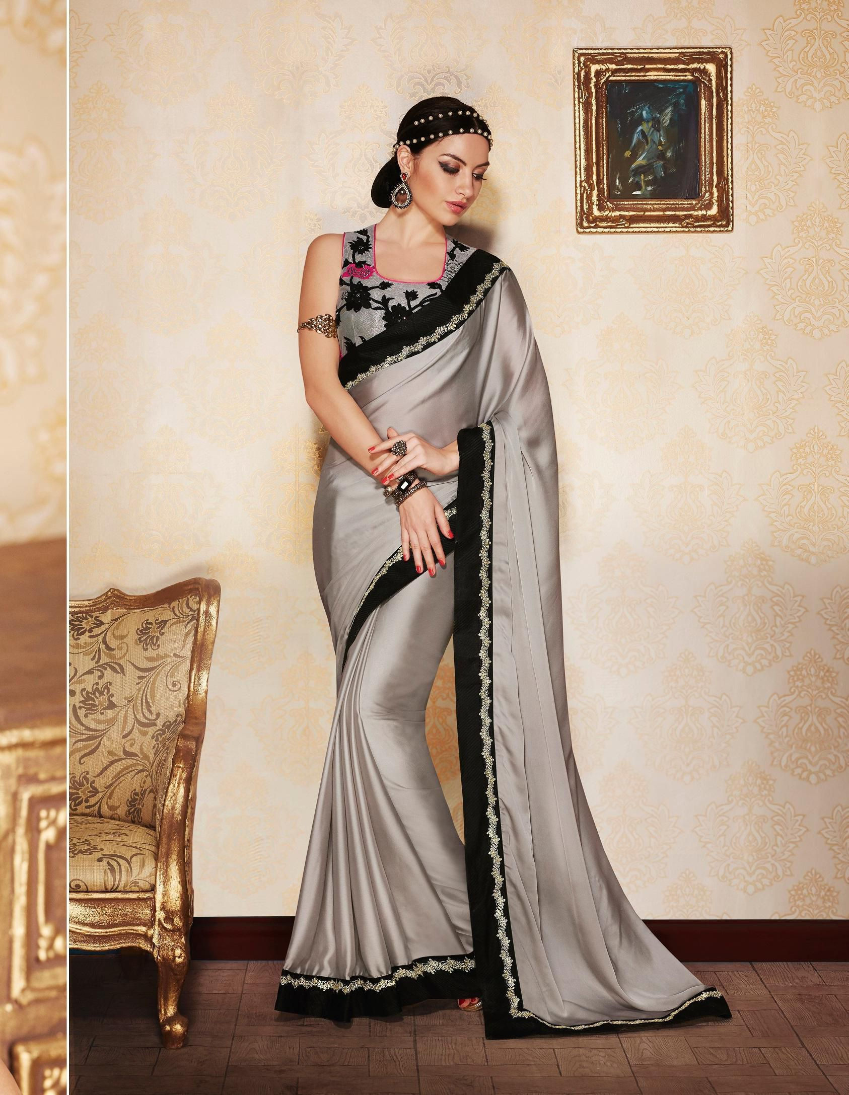 f86b5d4a7fea5d Party-wear-Grey-color-saree in 2019 | Designer Sarees - Party Wear ...