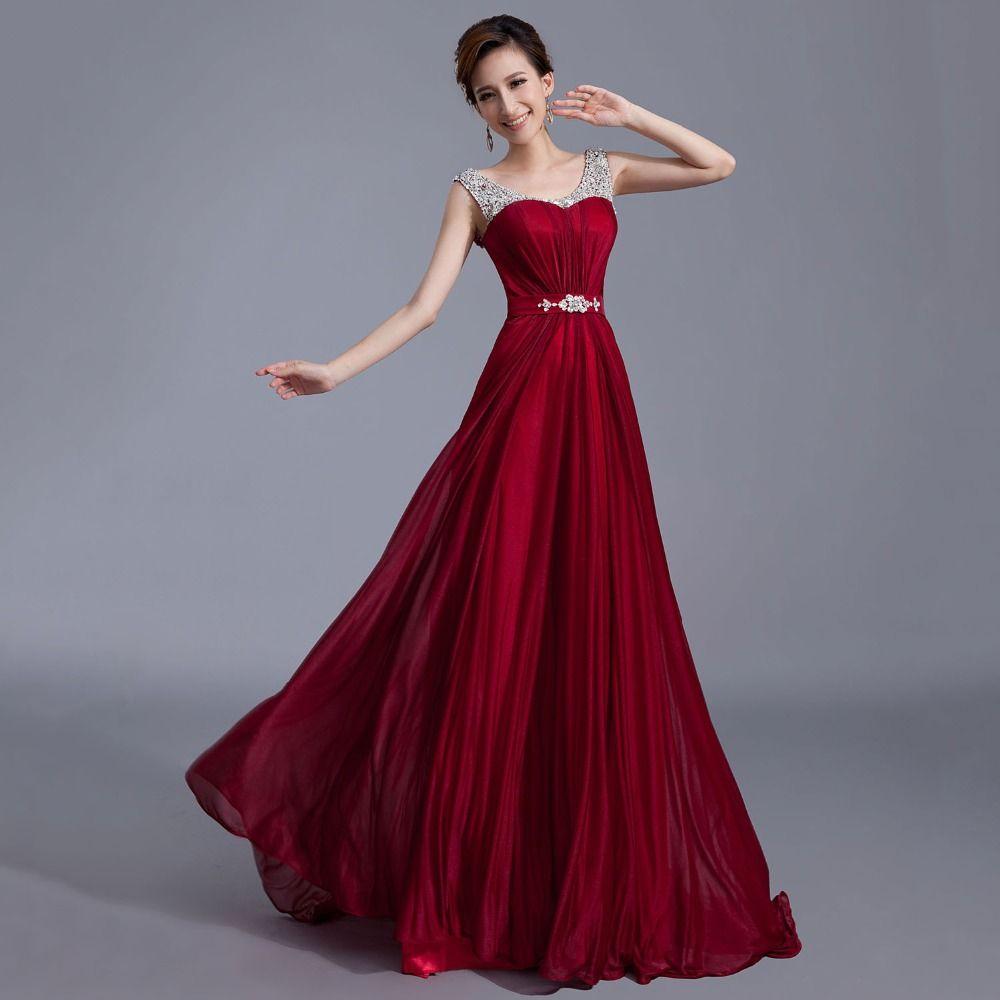 Burgund abendkleid lange prom kleider 2016 party kleid robe de ...