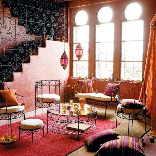 marokkanischer-stil-bunte-farben-dekorative-kissen   marokko, Wohnzimmer