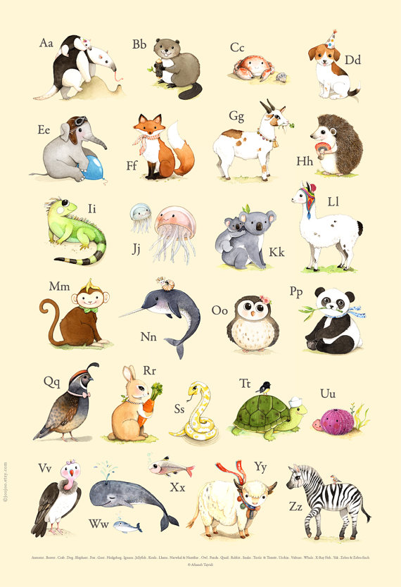 Abc Wall Art Abc Poster Abc Art Abc Print Abc Animals Alphabet Print Alphabet Art Abc Nursery Alphabet Poster Waterc Abc Art Alphabet Poster Abc Print