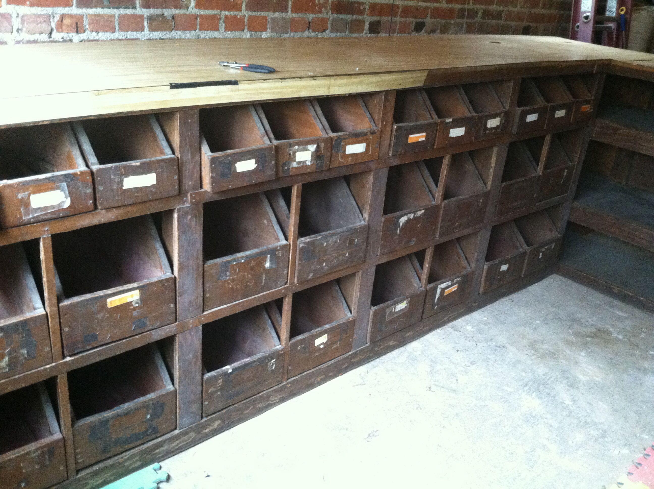 Old Hardware Store Seed Bins That Are Now In My Garage Wine Store Design Vintage Lockers Vintage Storage