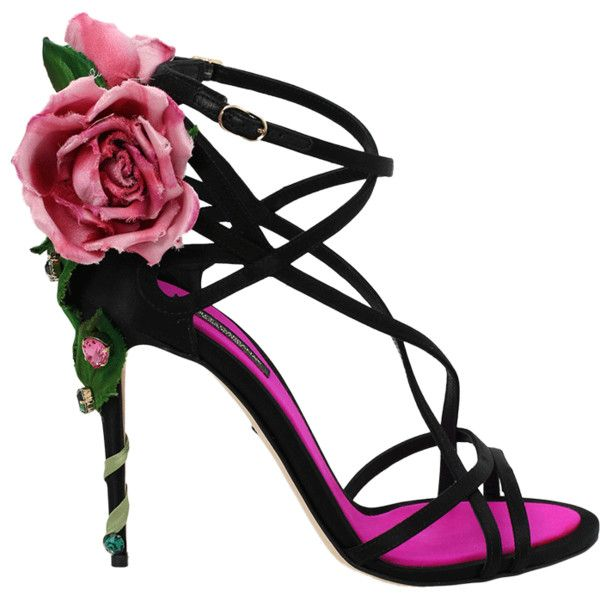 7a948390bdd Dolce & Gabbana Strappy Rose Heel Sandal ($1,995) ❤ liked on Polyvore  featuring shoes, sandals, dolce gabbana sandals, strap heel sandals, dolce  gabbana ...
