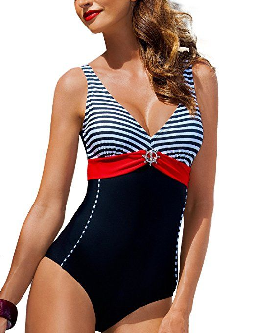 615917c777759 One Piece Cut Out Back Keyhole Swimsuit