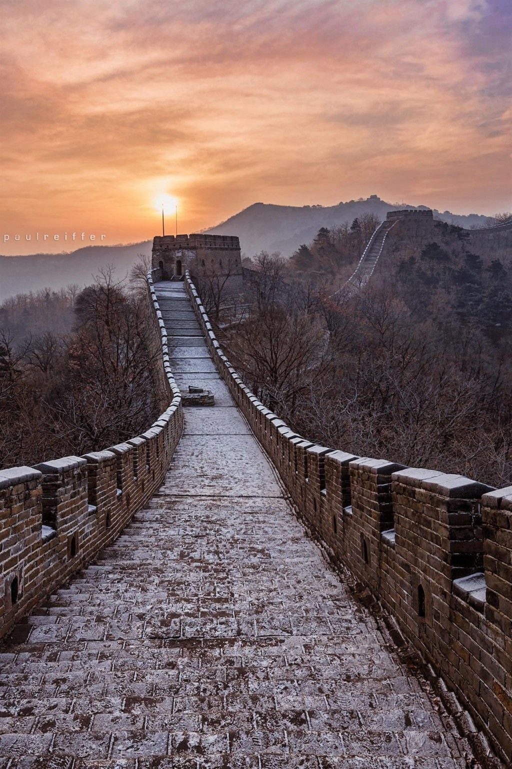 Great Wall Of China Sunrise wallpaper. (с изображениями