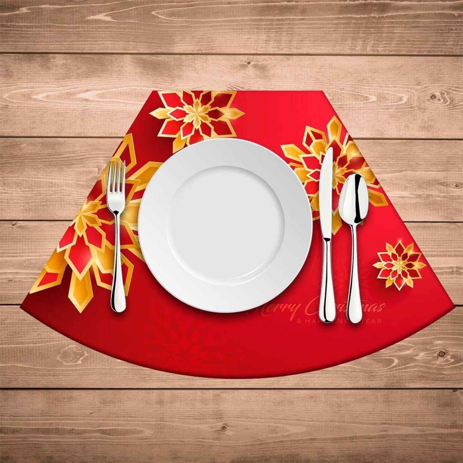 Jogo Americano De Natal Redondo Flor Abstrata Natalina Kit Com 6 Pcs Em 2021 Jogo Americano De Natal Flores Abstratas Natal