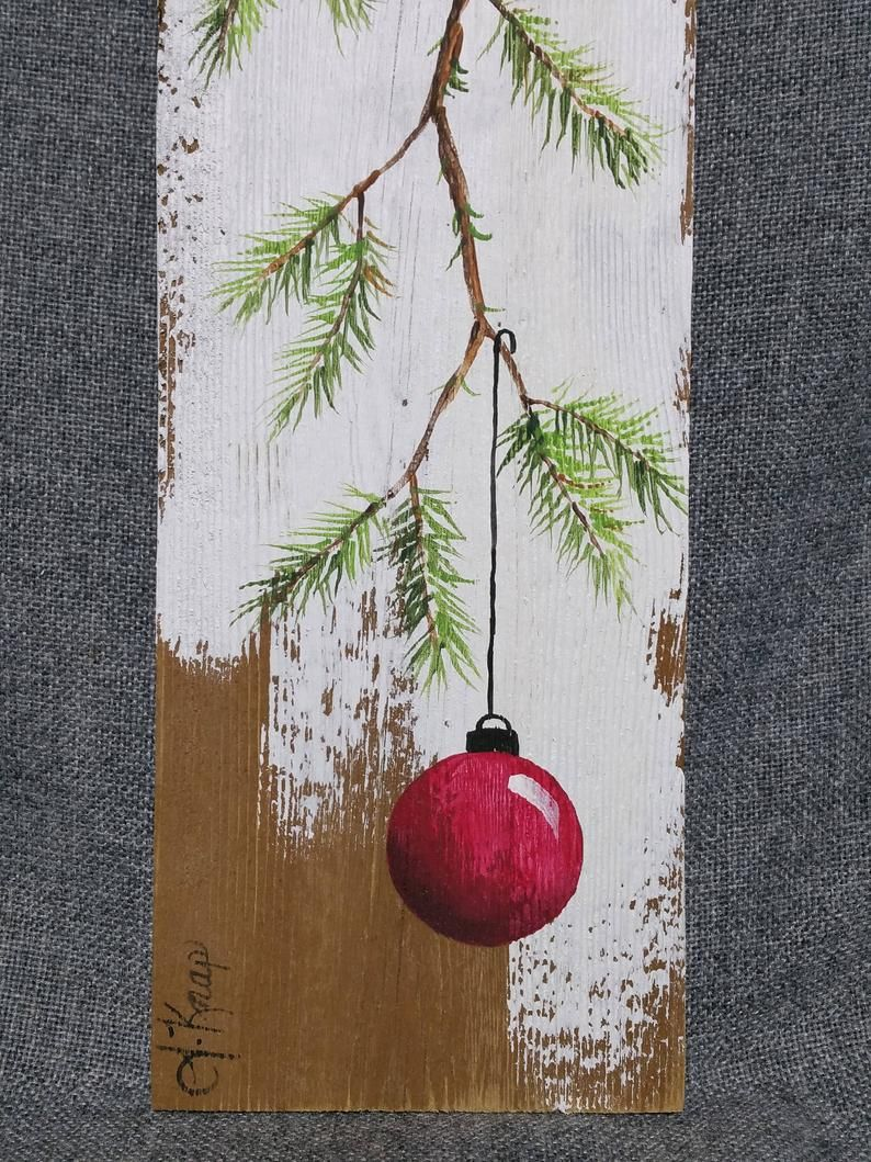 Christmas decor, SHORT pine needle branch, Pallet Christmas art, Red Christmas decoration, hand painted Pine with RED Bulb,  Pallet art