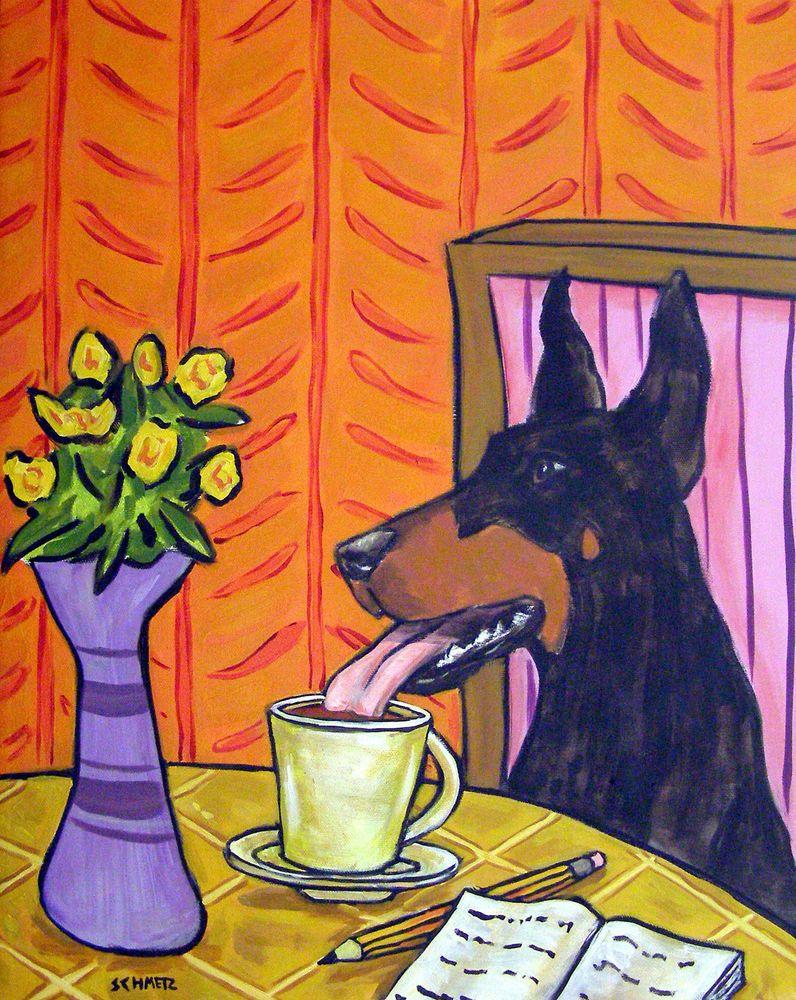 doberman pinscher dog wine 8x10  art artist print animals impressionism