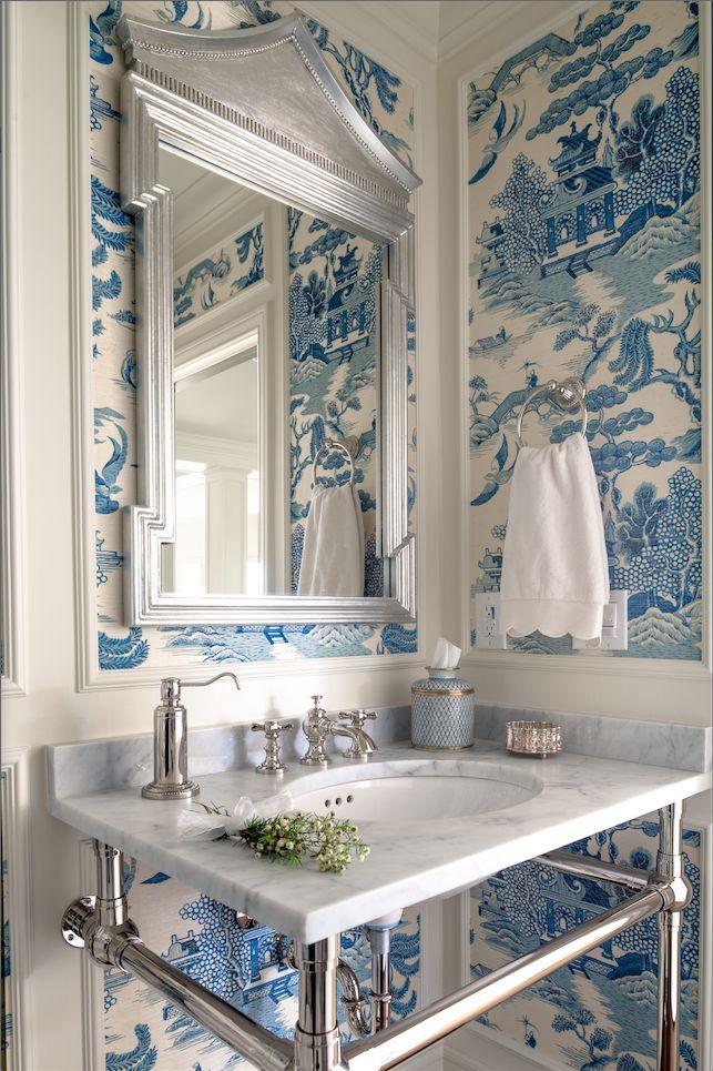 Blue white chinoiserie toile wallpaper in the powder for Blue bathroom wallpaper