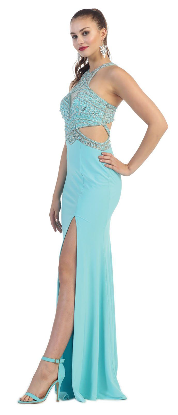 May Queen MQ7404 Stretchy Sexy Prom Dress (8, Aqua). Spot Clean. In ...