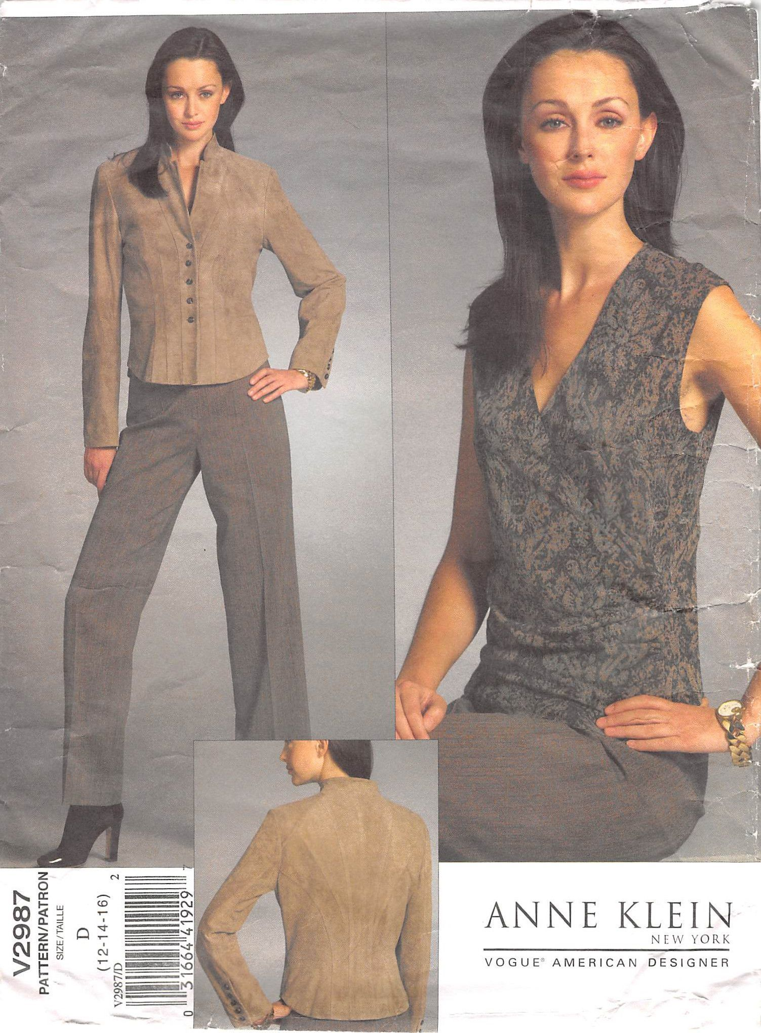 VOGUE 2987 - FROM 2007 - UNCUT - MISSES JACKET, TOP AND TROUSERS