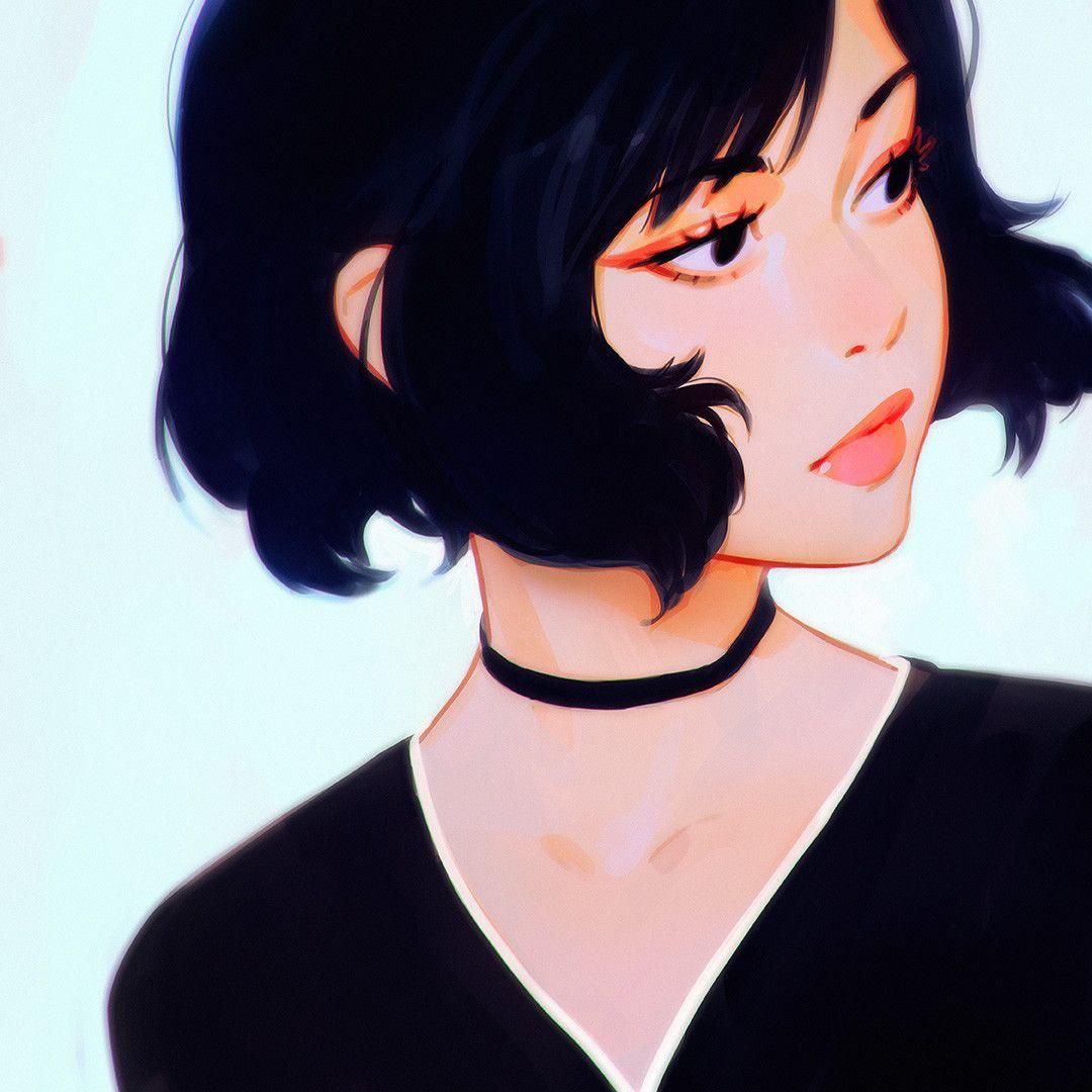 Face Framing Hair Short Wavy By Ilya Kuvshinov Digital Art Girl Art Girl Female Character Design
