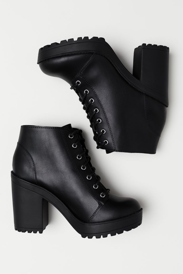 faux leather     H&M US is part of Black heel boots - Ankle boots with lacing at front  Fabric lining, fabric insoles, and thermoplastic rubber (TPR) soles  Front platform height 1 in , heel height 4 in