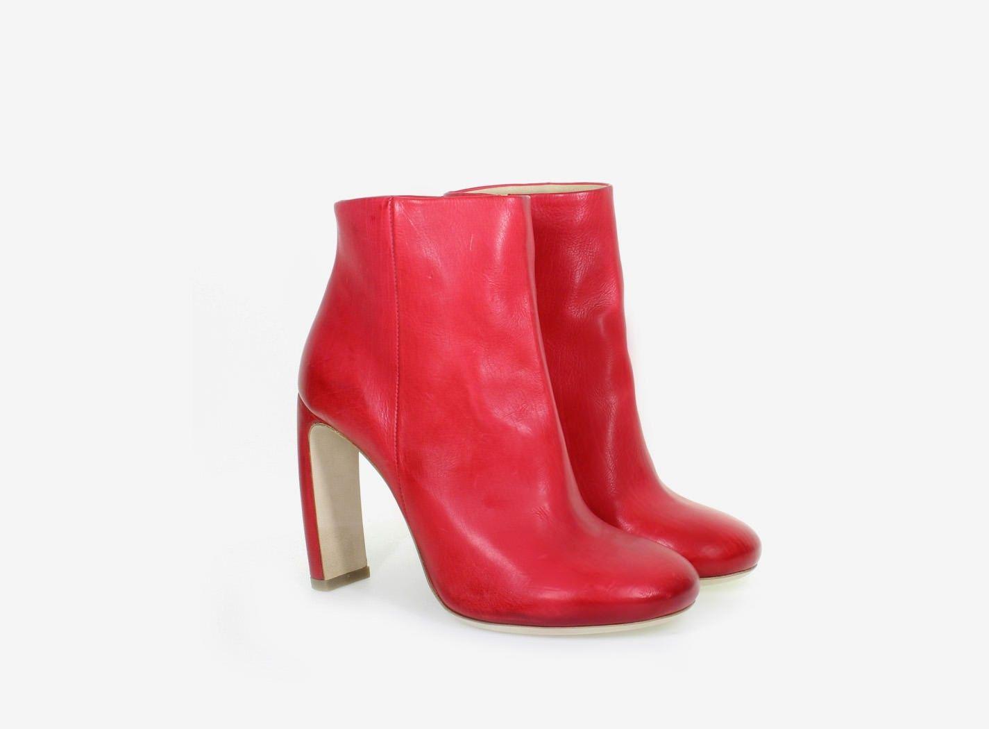 bottines rouges talon incurvé - vic matiÉ | chaussures femme