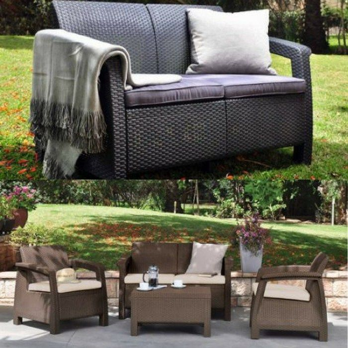 Patio Resin Love Seat With Cushions