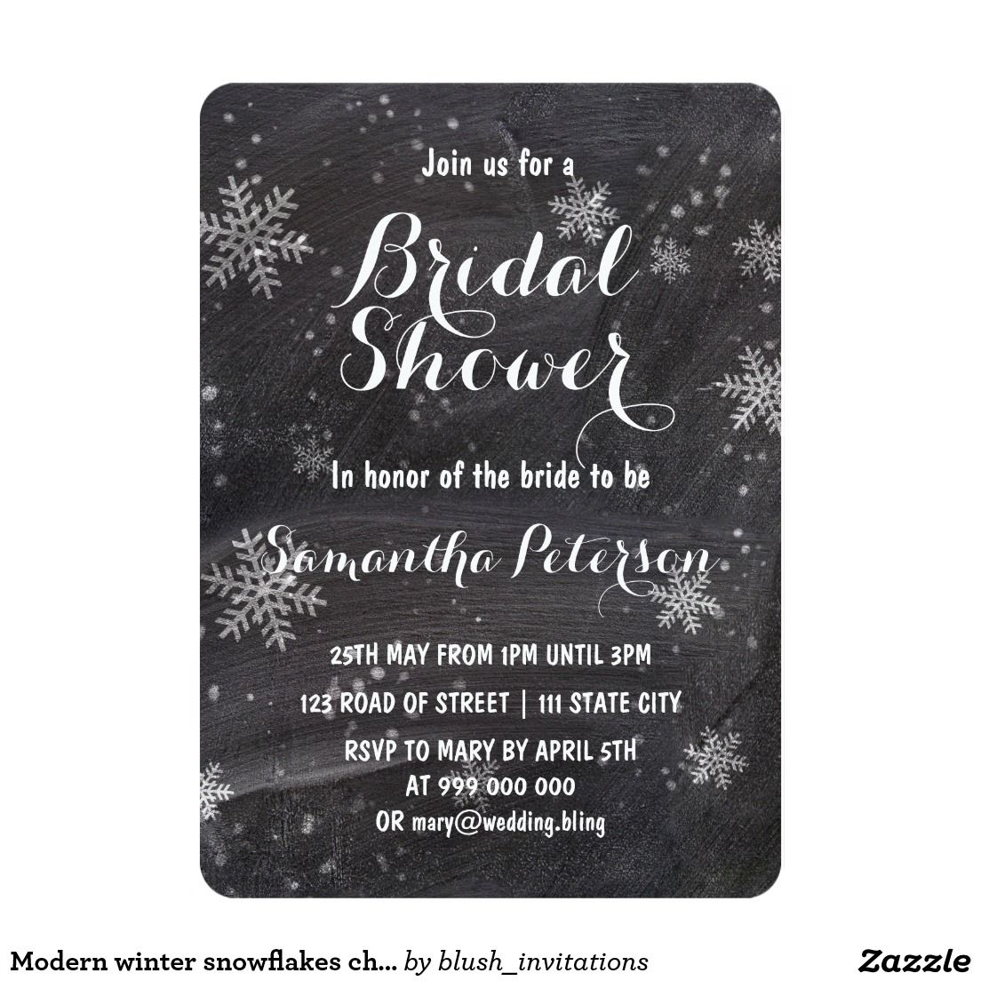 Modern winter snowflakes chalkboard bridal shower card chalkboard modern winter snowflakes chalkboard bridal shower card filmwisefo