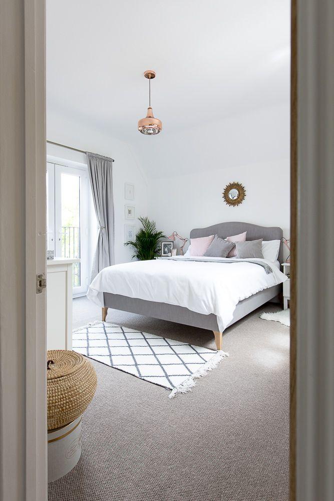 Grey White Blush Bedroom Bedroom Interior Bedroom Carpet