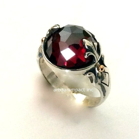 Red garnet ring, stone ring, January birthstone,fleur de lis ring, silver gold ring, sterling silver ring, two tones ring -To be alive R2182