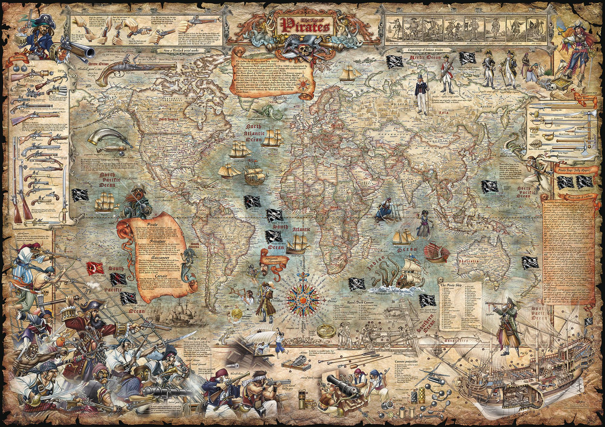 Map World Oil Reserves%0A Age of Pirates Historical Map Poster Detailed Beautifully Illustrated  Arrrrrr