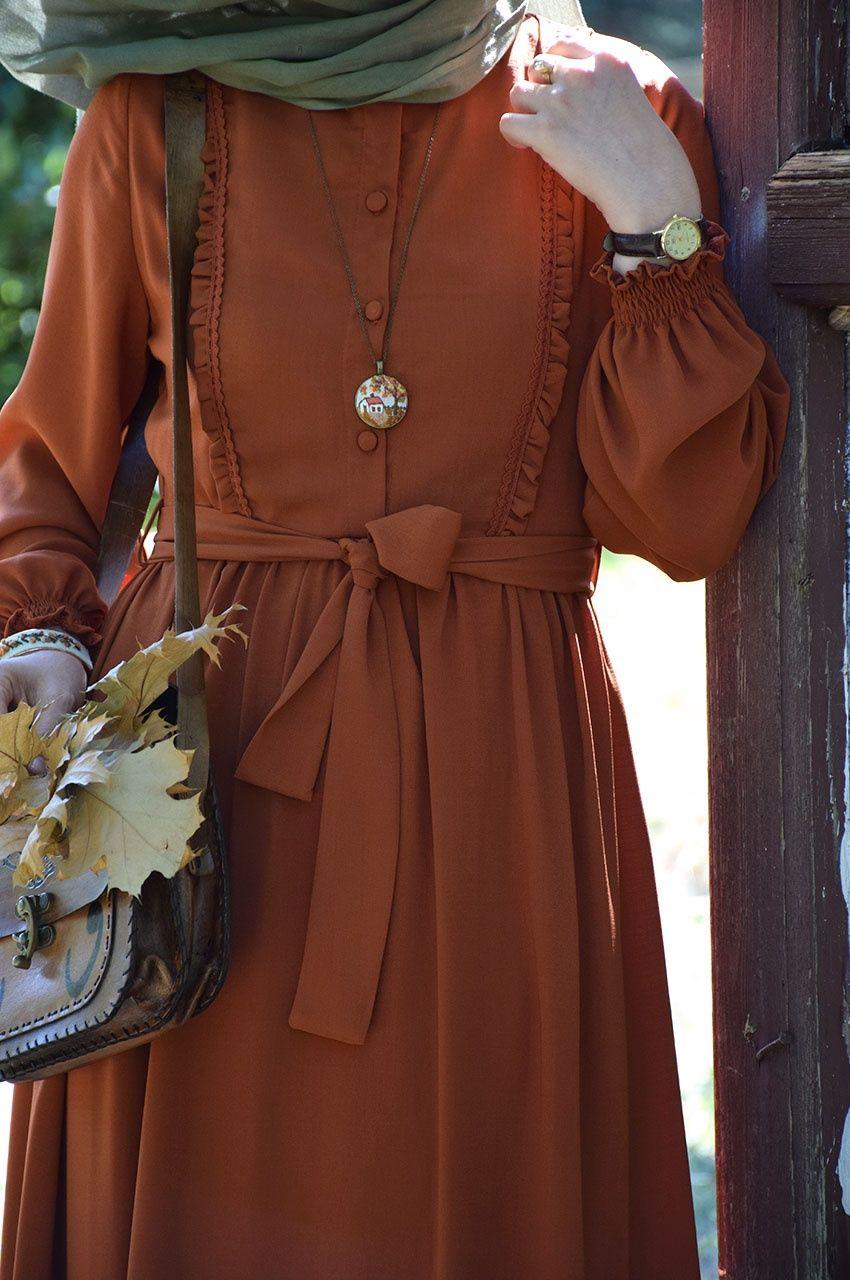 Zarif Tarcin Renk Elbise Islami Giyim Elbise Casual Hijab Outfit