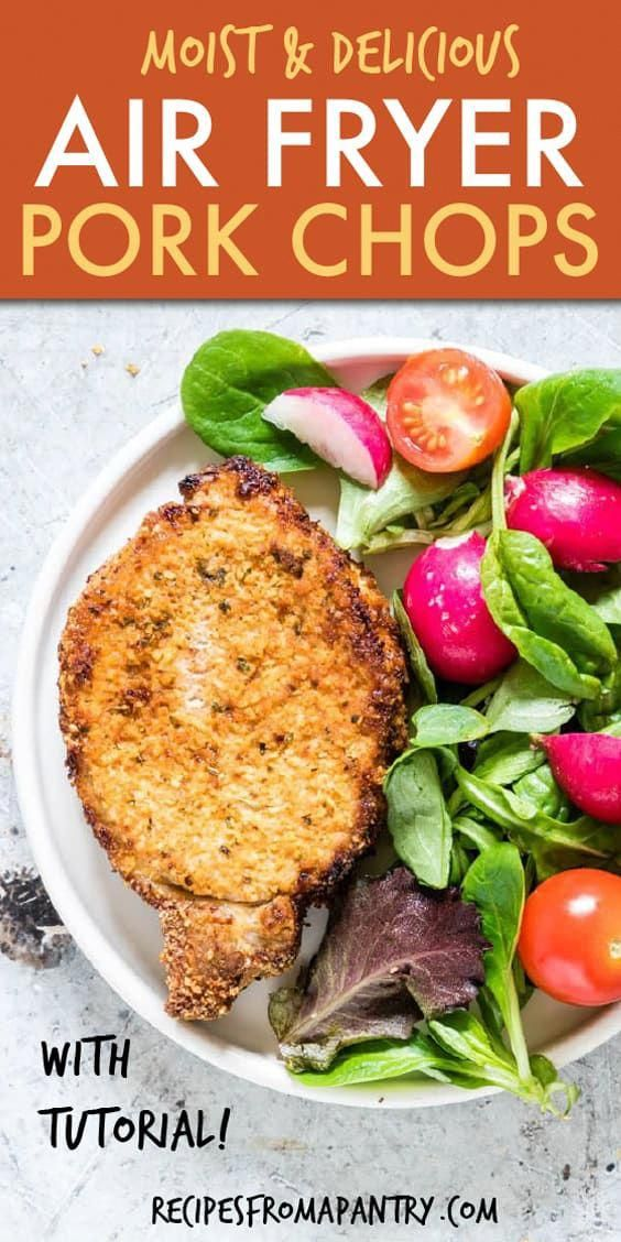 Air Fryer Pork Chops are everything delicious pork chops should be, only healthier. Crispy on the outside and juicy on the inside. And SO much faster than cooking in the oven or on the stovetop! Looking for that perfect low carb or keto pork chops recipe?? This is it!