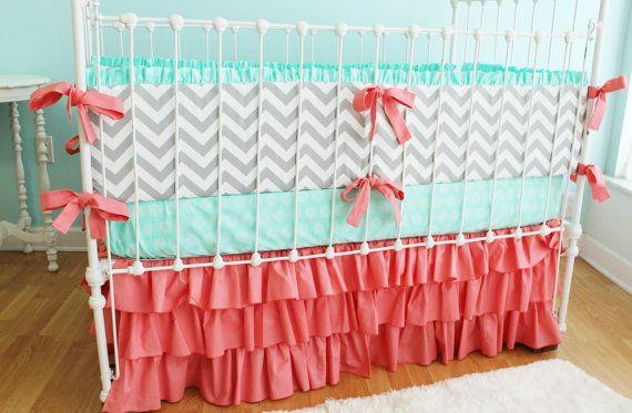 Sweet Sorbet Chevron Custom Crib Bedding By Lottiedababy