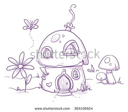 Drawings of fairies on mushrooms for Fairy on a mushroom drawing