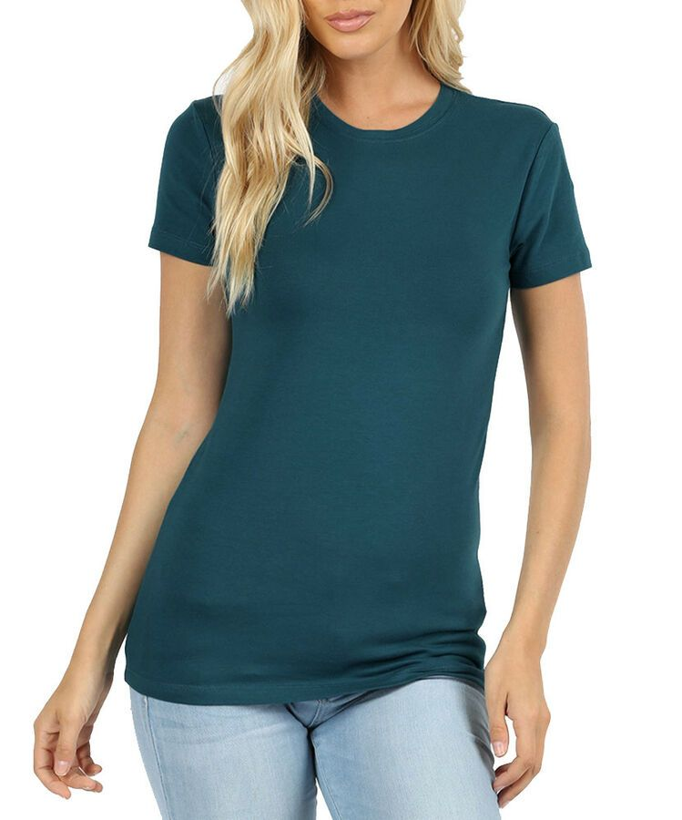 Womens Basic Solid Cotton Long Tee Short Sleeve Crew Neck ...