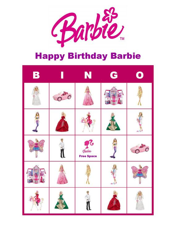 Barbie Doll Personalized Birthday Party Game Activity Bingo Cards Delivered by Email on Etsy, $6.00