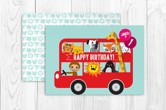 Printable double decker bus birthday greeting card template vector - bus pass template