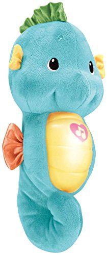 With a gentle squeeze this cuddly friend glows and plays soft music lullabies and soothing sounds of the ocean....