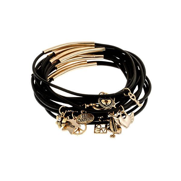Bee Charming Luck in Love Black and Goldtone Rubber Bracelets ($45) found on Polyvore