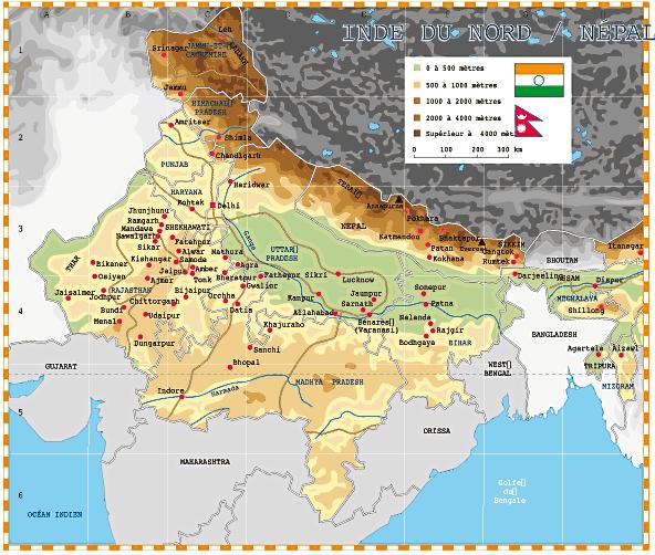 Carte Geographique De Linde Du Nord.Carte Inde Du Nord Nepal Voyage En Inde Carte Inde