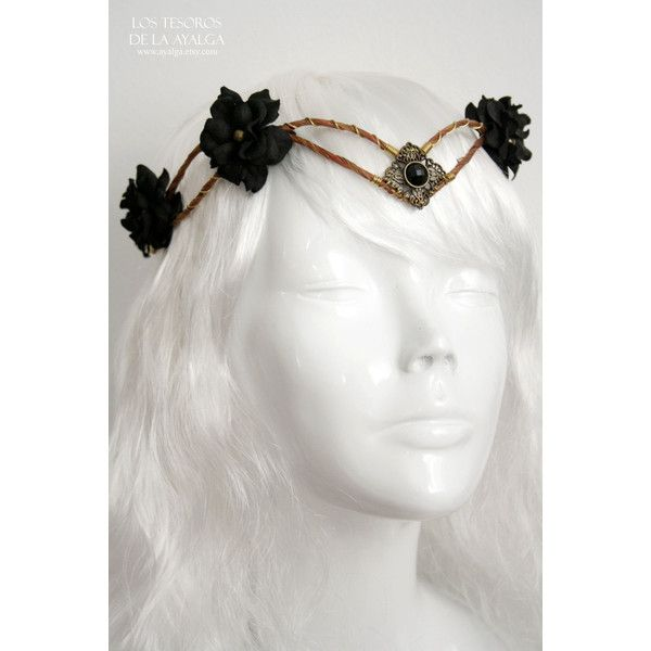 Woodland Elf Tiara Elven Headpiece Fairy Crown (300 DKK) ❤ liked on Polyvore featuring accessories, hair accessories, grey, flower hair accessories, flower tiara, flower crown, crown hair accessories and tiara crown