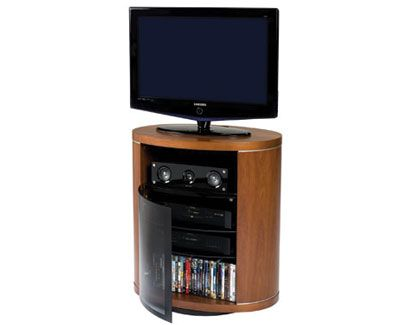 Bdi S Revo 9980 Tv Cabinet In Natural Stained Cherry Perfect For Corner Spaces Hometheater Furniture Ca Small Tv Stand Modern Tv Stand Modern Media Storage