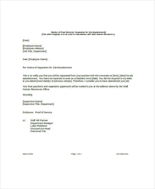 Separation Notice Template Employee Layoff Notice Lettering