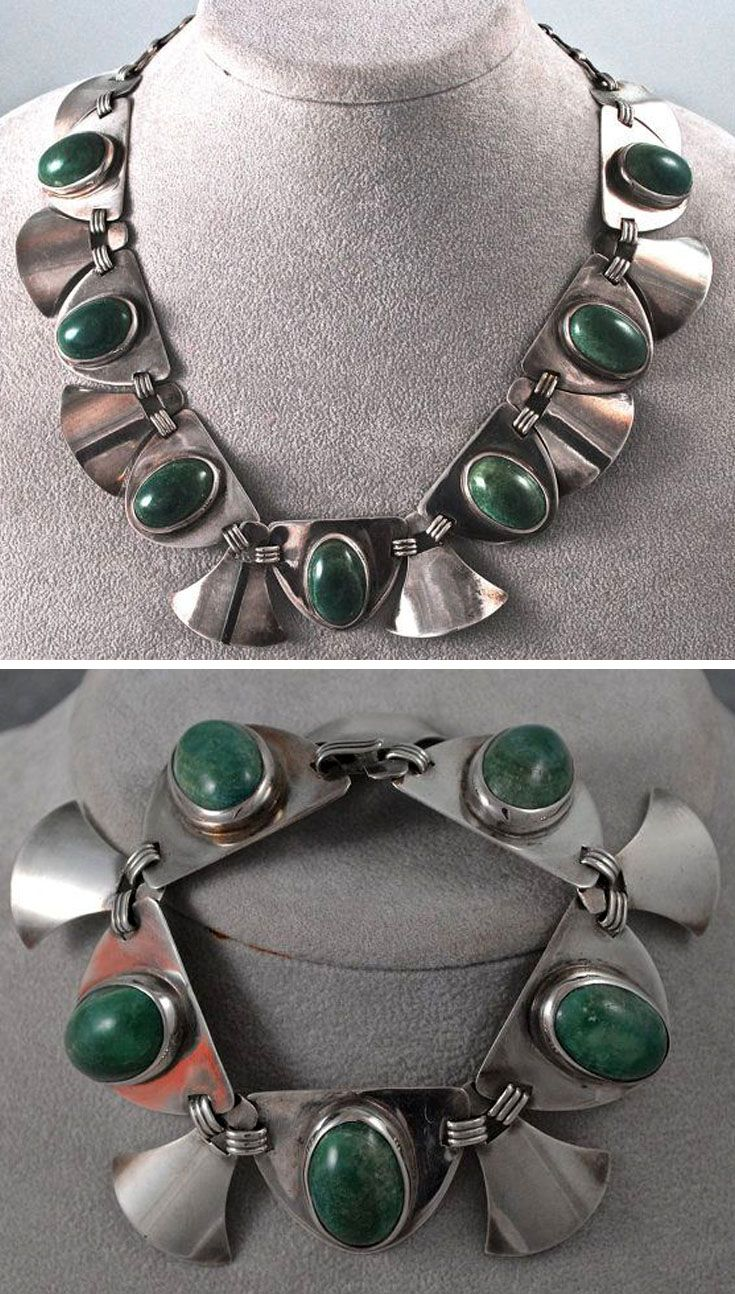Necklace And Bracelet Fred Davis Design Silver With Large Green Stone Cabochons Ca 1960s Vintage Silver Jewelry Mexican Silver Jewelry Artistic Jewelry
