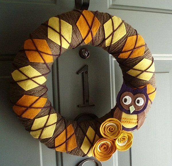 Katiesheadesign Unique Diy Thanksgiving Craft Design Idea An Argyle Wreath