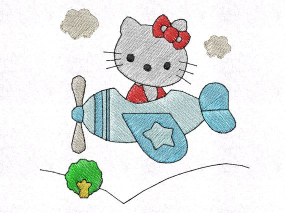 Hello kitty airplane machine embroidery pattern inch hoop