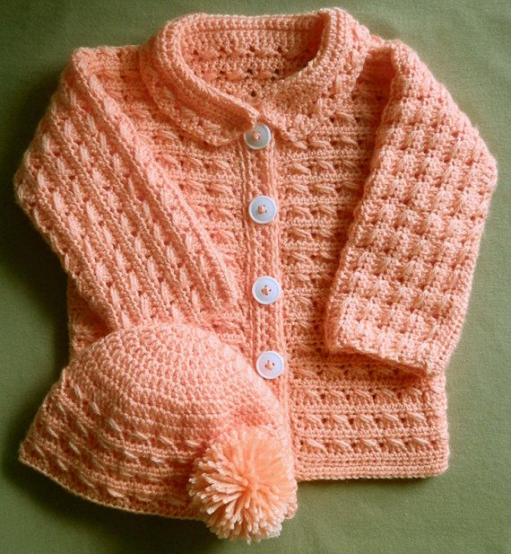 552592a27865f Crochet Baby Girl or Boy Sweater Jacket and Hat PDF Pattern 24 months One  Piece!