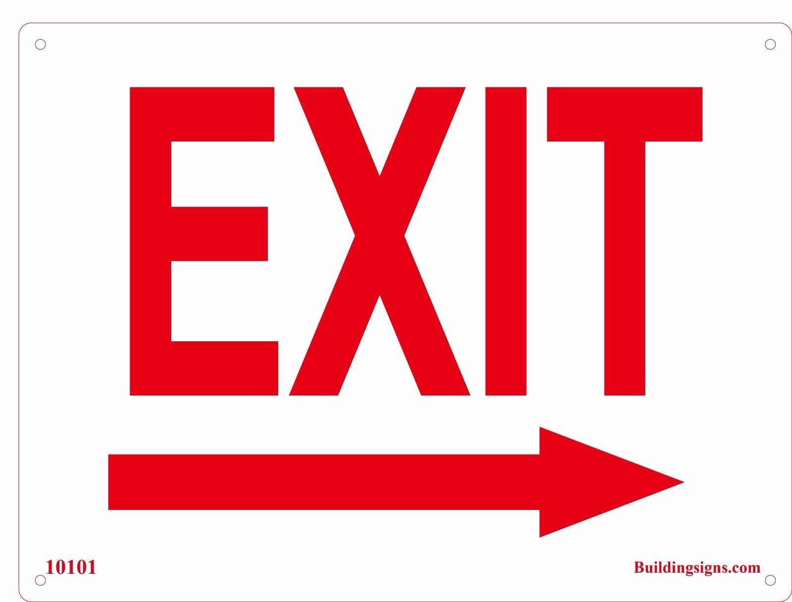 Aluminum Metal White Exit Right Arrow Sign Business Directional Door Signs