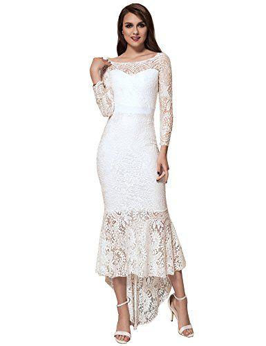 4543cd5ca41 Beautiful ohyeah ohyeah Women Solid Formal Lace Maxi Dress Long Sleeve Off  Shoulder Elegant Party Gown Mermaid Dress womens dresses.