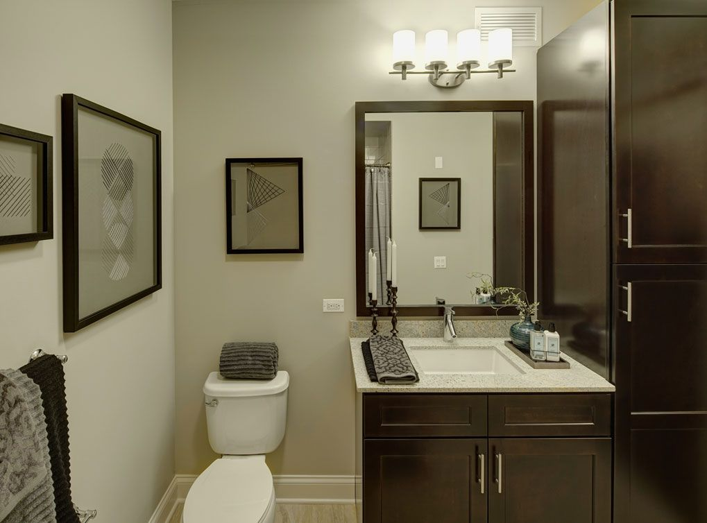 model bathroom at amli river north a luxury apartment community in chicago