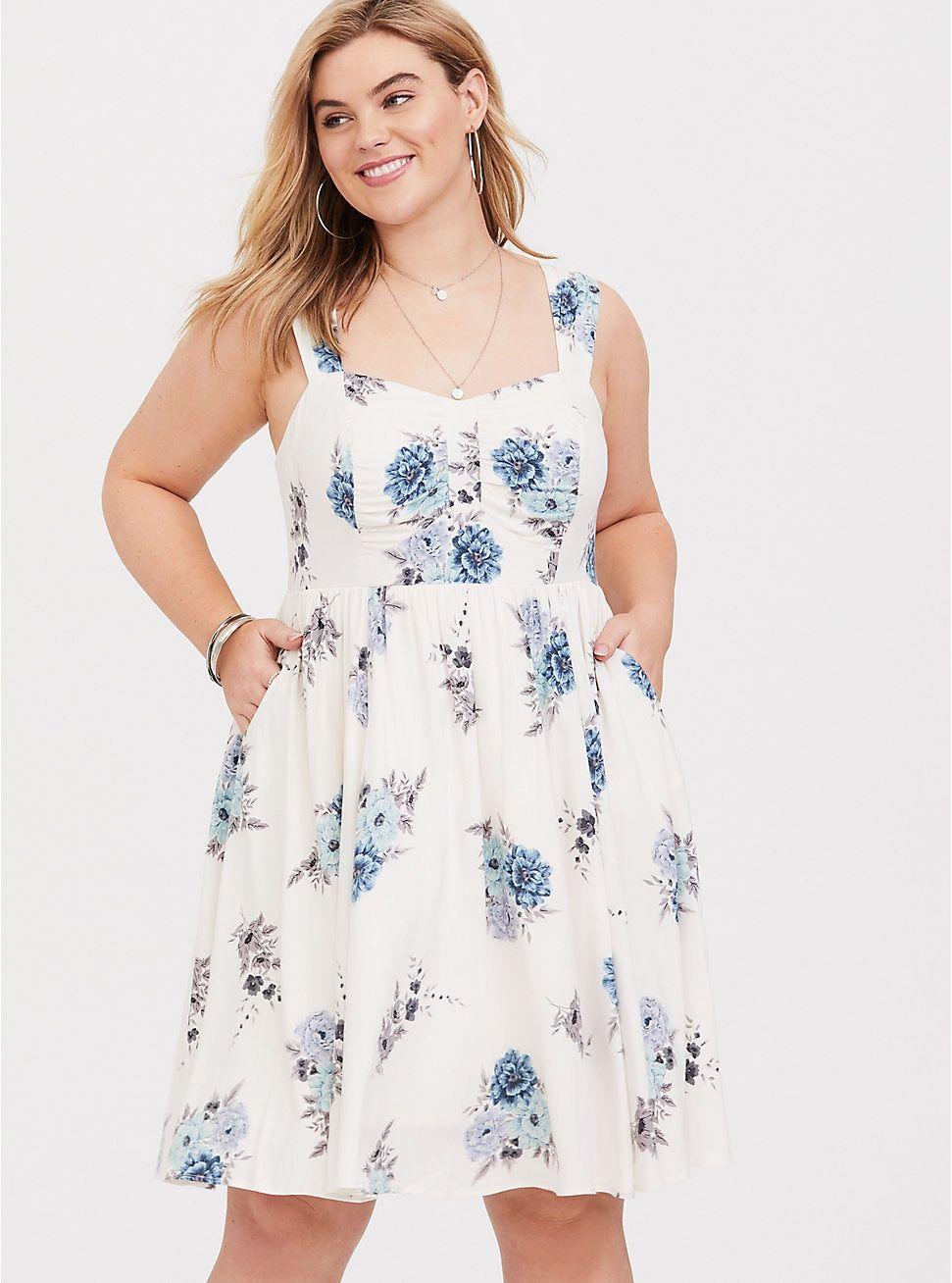 Plus Size Ivory Blue Floral Challis Mini Dress Plus Size Dresses Mini Dress Dresses [ 1308 x 971 Pixel ]