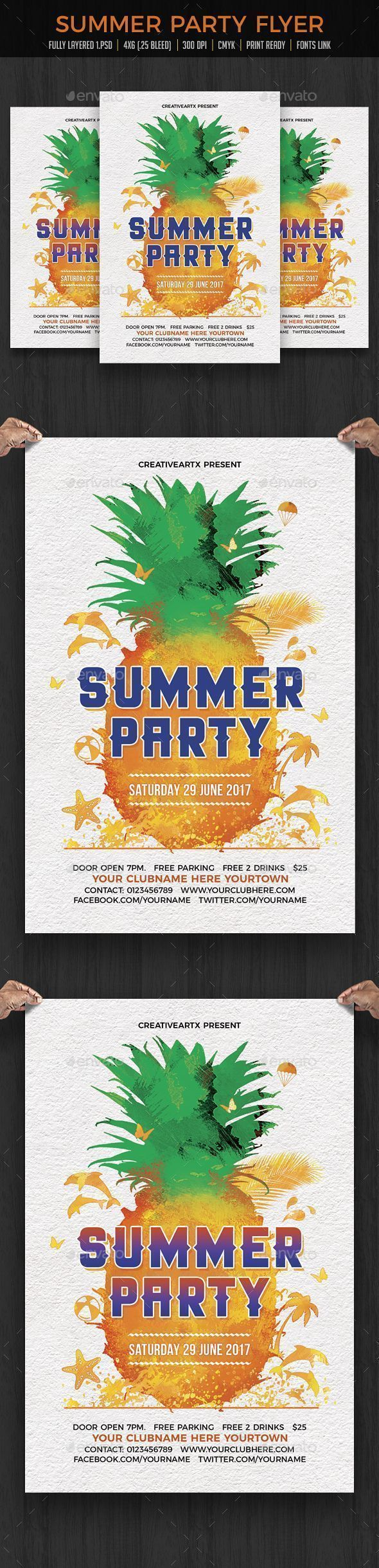 Summer Party Flyer von creativeartx Summer Party Flyer Spring Break Flyer Vorlage ...