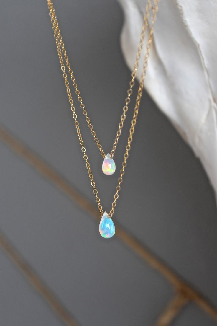 STYLE  Layered chains STONE  Tear drop Ethiopian Opals - Grade AAA Quality FINISH  14k gold fill, 14k rose gold fill, sterling silver delicate chain LENGTH   15