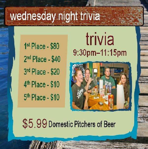 Gainesville's best team trivia night every Wednesday at 9:30pm. $7.50 Domestic buckets, $.55 boneless wings, and $5.99 Domestic pitchers 9pm-close!